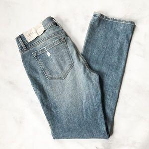 LOFT Modern Straight Destroyed Patch Denim Jeans